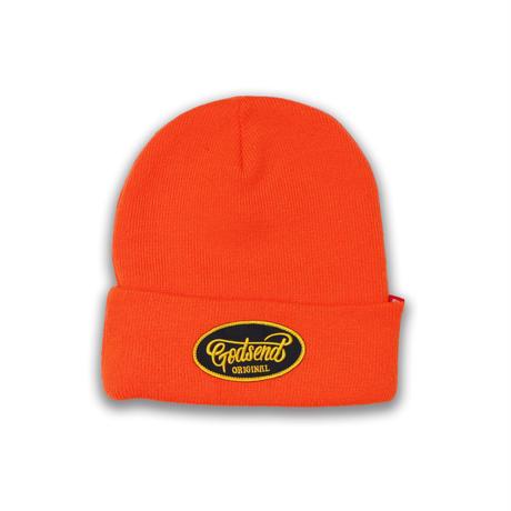 OVAL  EMBLEM  KNIT  CAP  オーバル  ワッペン  ニットキャップ  オレンジ