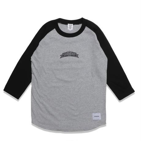 HERALDIC  RAGLAN  3/4 TEE ヘラルディック  ラグラン七分袖  TEE  ブラック/グレー