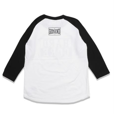 HARD  CORE  RAGLAN  3/4 TEE ハードコア  ラグラン七分袖  TEE  ブラック/ホワイト