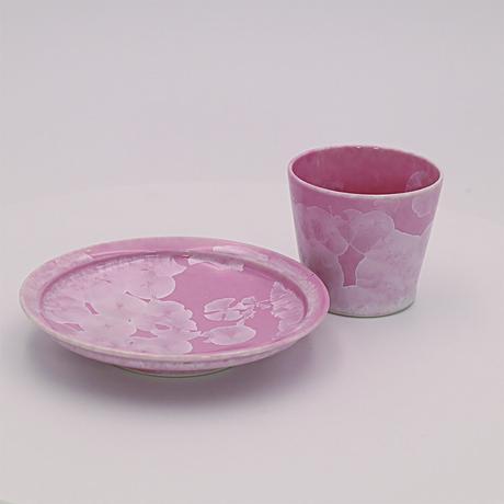 ピンク結晶 5寸皿&ロックカップ