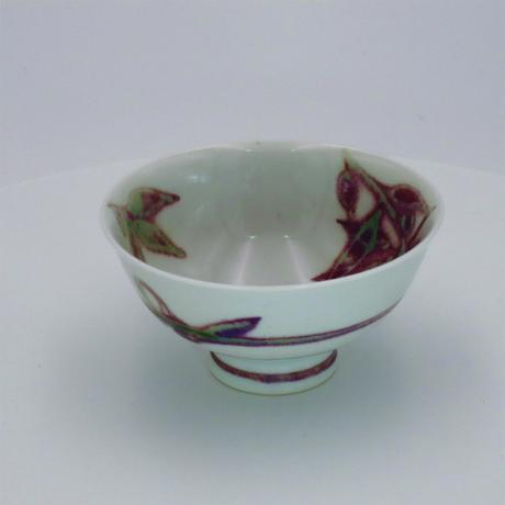 紫 木の葉紋 めし碗