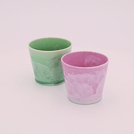結晶 ペア・ロックカップ(緑・ピンク)