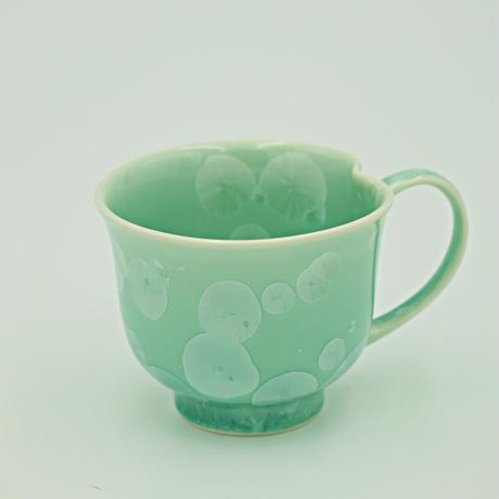 結晶釉 中マぐカップ 緑 №260