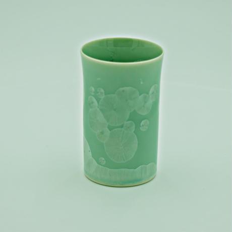結晶釉一口コップ 緑 №380