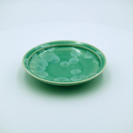 結晶釉 5寸皿 緑 №457