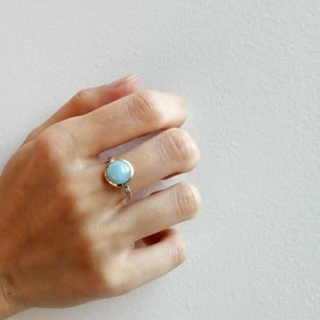 【bohem】 当店限定!10th Anniversary Ring ミルキーアクアマリン(完売につきオーダー対応)