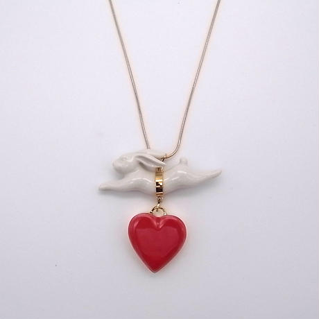 【ANDRESGALLARDO】 RABBIT JUMPING HEART NECKLACE レッド