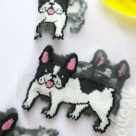 Bulldog Transparent くつした from Paris