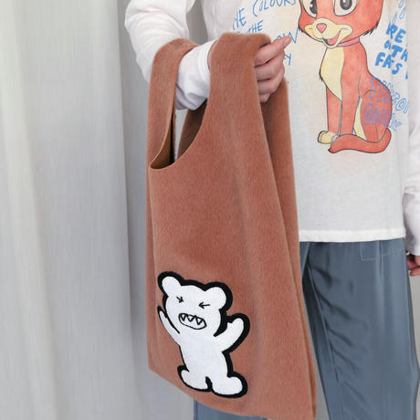 【SIMEON FARRAR】FUR SHOPPER BAG Teddy コーラルブラウン