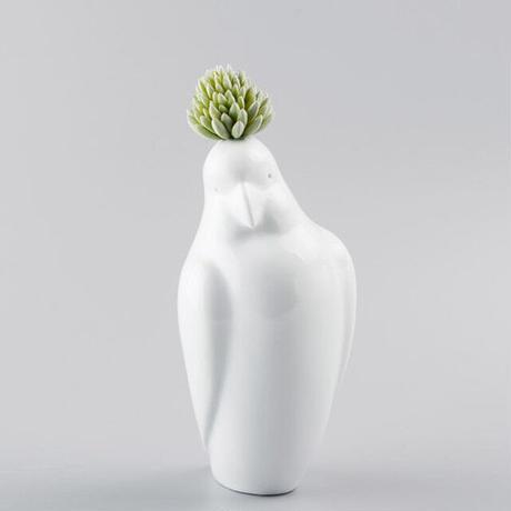備前吉田焼 白磁のオウム花瓶