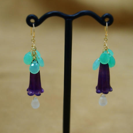 Amethyst&Chrysoprase Flower Earrings