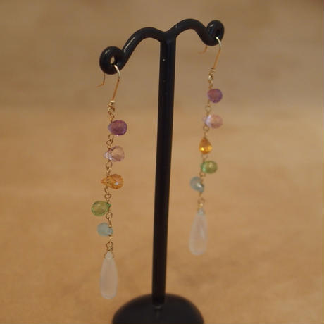 Multi Color&Royal Moonstone Design Earrings