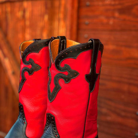 RIOS of MERCEDES / Crepe Sole Roper Boots(BLACK/RED)