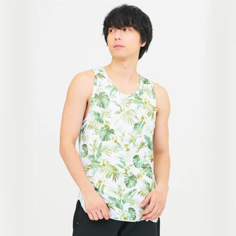 昇華プリントフラワー柄ノースリーブロングメッシュシャツ G-2357