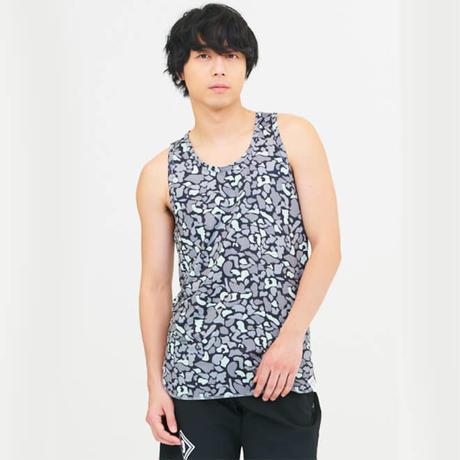 昇華プリント迷彩柄ノースリーブロングメッシュシャツ G-2358