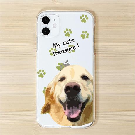 大きいお顔イラストタイプ ペットの写真で作るうちの子iPhoneケース スマホケース 犬 猫 うさぎ ペットグッズ 名入れ 誕生日 ギフト 【クリックポスト便対応】