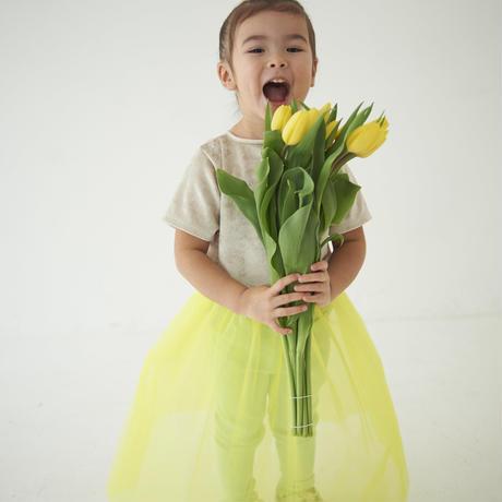 3点セット Lemon yellowチュール×SilverベロアT×rose pinkペチコート