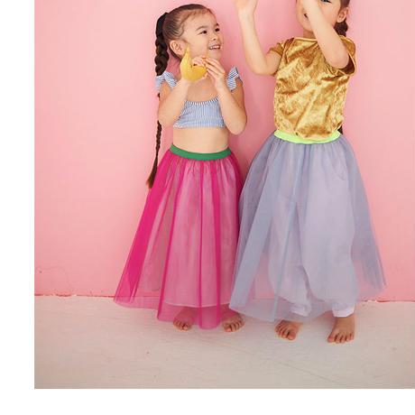 Candy pink カラーウエスト切替えチュールSK × Sea  Blue   ペールトーン ペチコートセット
