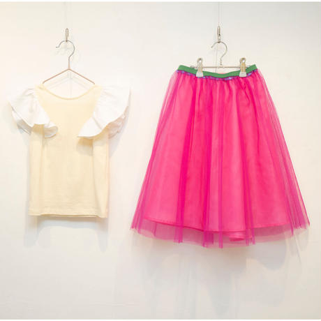 3点セット  Power white バタフライフリルトップス×Candy pinkチュールスカート×Rose pinkペチコート