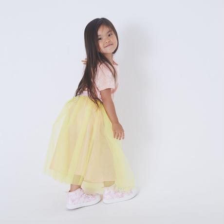 3点セット Sherbet pink クラッシュベロアTシャツ ×  Lemon yellowピンクウエスト切替えチュールSK × Coral pink ペールトーンペチコート