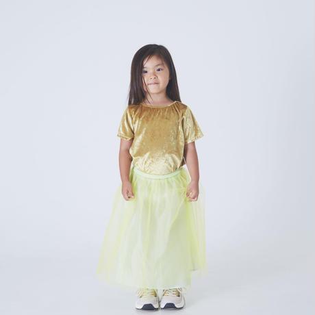大人気2点セット 再再販 Gold クラッシュベロアT シャツ ×Lemon yellow  ネオンウエスト切替えチュールSK