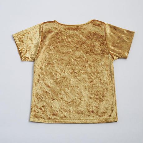 大人気 再販売 2点セット Evening grayネオンカラーウエスト切替えチュールSK×GoldストレッチクラッシュベロアTシャツ