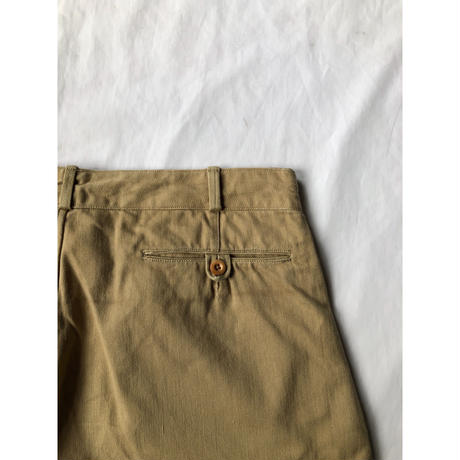 40's French Army Chino Shorts Single Back Pocket