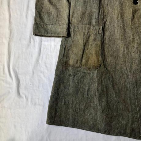 1940's Italian Military Stand Collar Black Chambray Coat