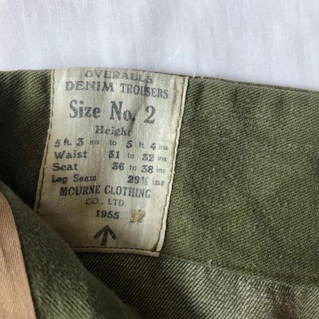 1955's Royal Army Green Denim Trousers.