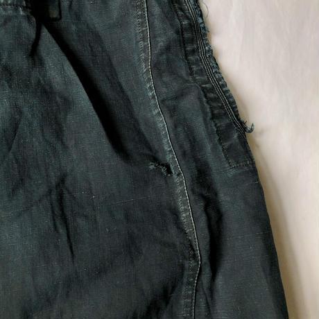 〜1930's Black Indigo Linen Open Biaude, Damaged/Repaired