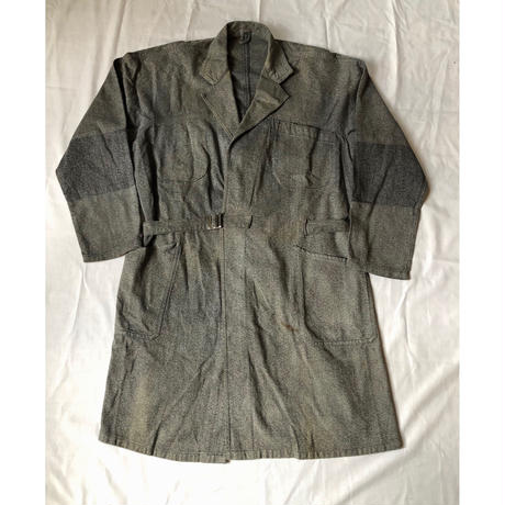 "Early40's Black Chambray Painter Robe Coat Made From ""Adolphe Lafont""/1"