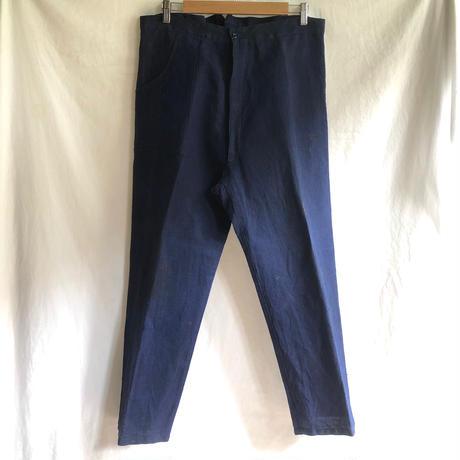1920's〜1930's Euro(Belgian?) Indigo Linen Work Trousers.