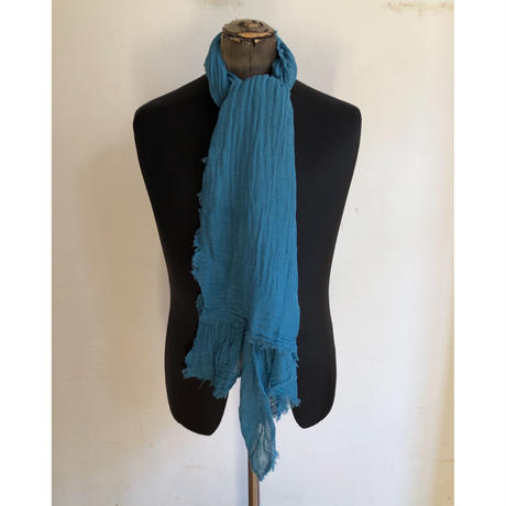 Sarah Simon French Natural Cotton Scarf  Hand Made in France Blue