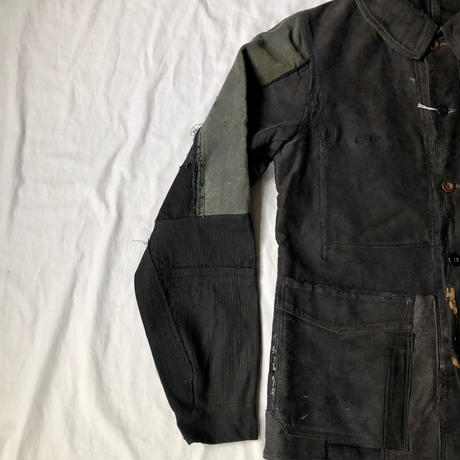 40's Black Moleskin Coverall Hard Repaired and Remade. Made by Le Mont St Michel