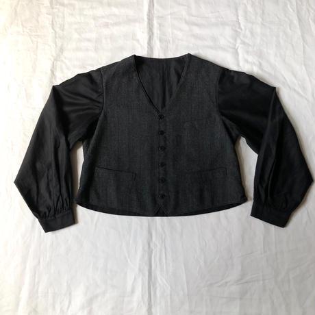 1920's/1930's French Wool/Black moleskin (Cotton/Satin) Gilet Jacket Dead Stock