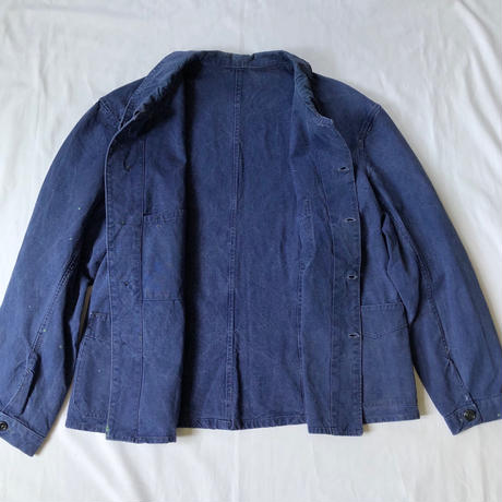 30's French Indigo Linen Work Coverall