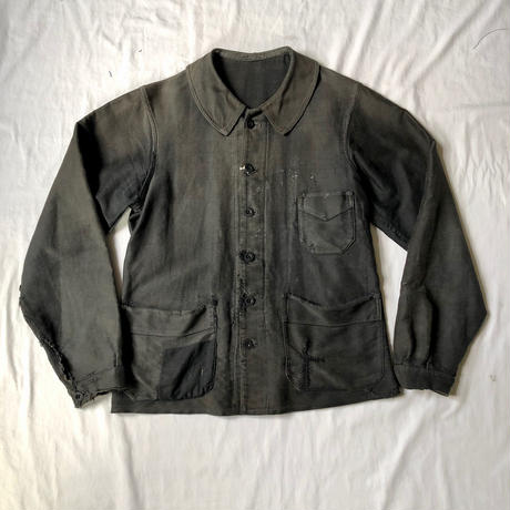 40's 6 Buttons Black Moleskin  Coverall