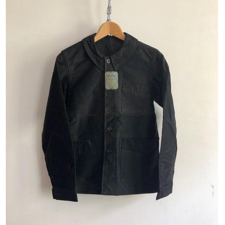 30's Black Moleskin Coverall With Metal Buttons Dead Stock