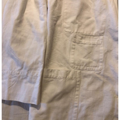 50's British  White Canvas Multiple Pockets Stand Collar Engineer  Jacket Mint Condition