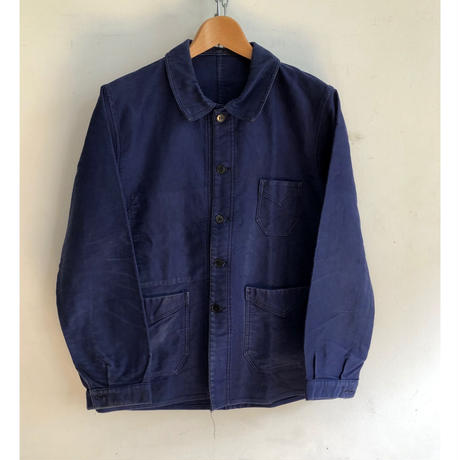 40's ink Blue Moleskin Coverall Good Condition
