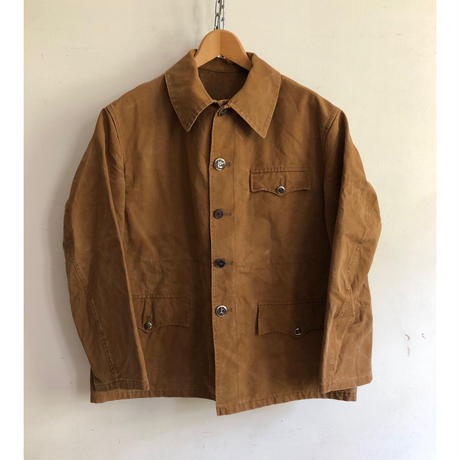 40's Brown Canvas Animal Buttons Hunting Jacket