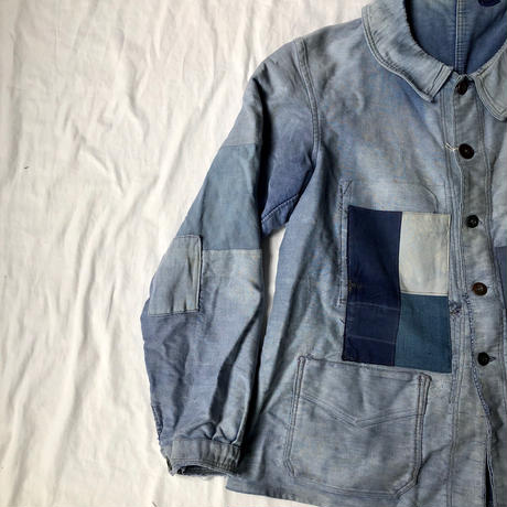40's Ink Blue Moleskin Coverall Hard Repaired and Remade Made by Le Mont Rouge