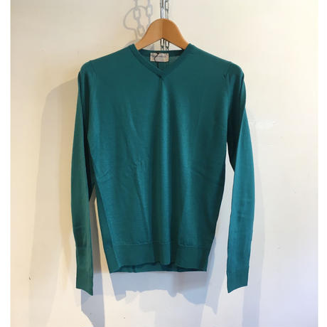 """JOHN SMEDLEY """"IMPERFECT A3834 Pullover"""" Green Fine Merino Wool"""