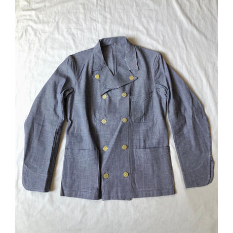 40's French Butcher Double Breasted Jacket Dead Stock