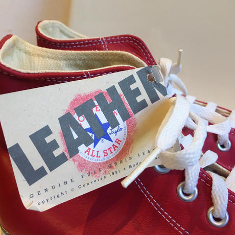 """90's  Made in USA """"Leather"""" CONVERSE ALL STAR High Cut 箱付き Dead Stock 8 1/2"""