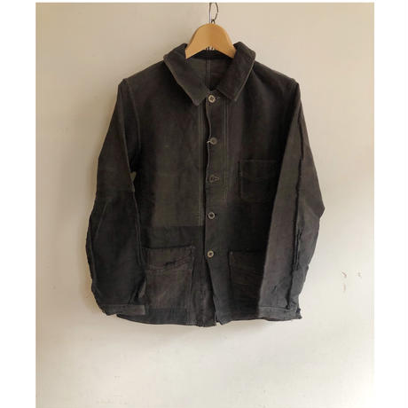 "40's Black Moleskin Boro Coverall Made by ""Le Mont St Michel"""