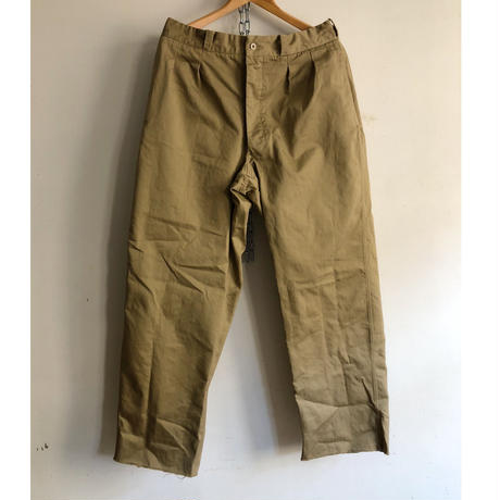 """50's French Army Chino Trousers Dead Stock """"After Washed""""  """"24"""""""