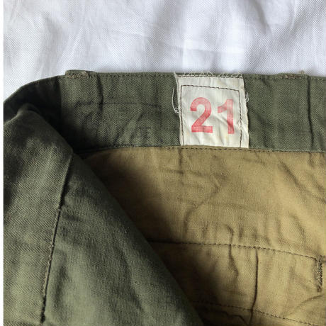 "60's French Army M47 Field Trousers ""21"" Good Condition"