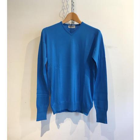 "JOHN SMEDLEY ""STRUTT Pullover"" Blue Sea Island Cotton"