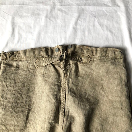 〜Later1930's French Military  Natural HBT Linen Bourgeron Pants